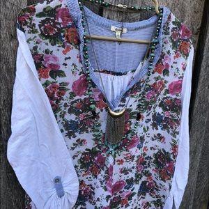 Sundance Catalog Dylan L floral Henley blouse top